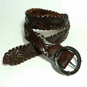 Accessories - Braided leather blend belt circle buckle Sm/M